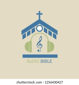 Christian logo for music radio stations. In the center of the church, headphones and a treble clef symbolize the audio Bible.