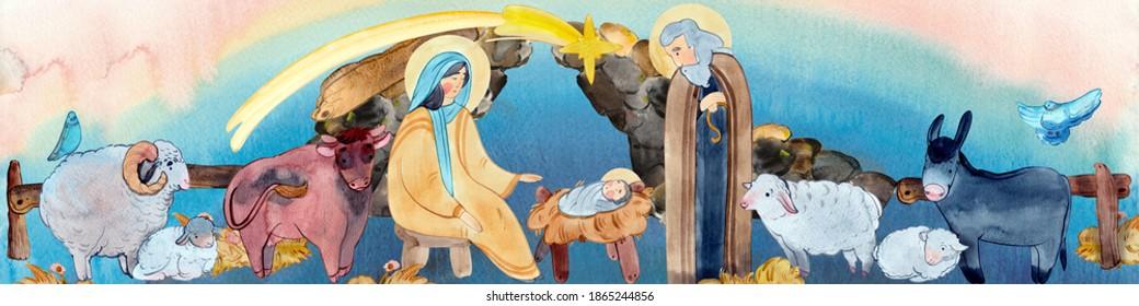Christian nativity scene border on blue watercolor background. Virgin Mary, Jesus Christ, Joseph, sheep, animals in the cave, Bethlehem star. For Merry Christmas greeting cards, Christian publication
