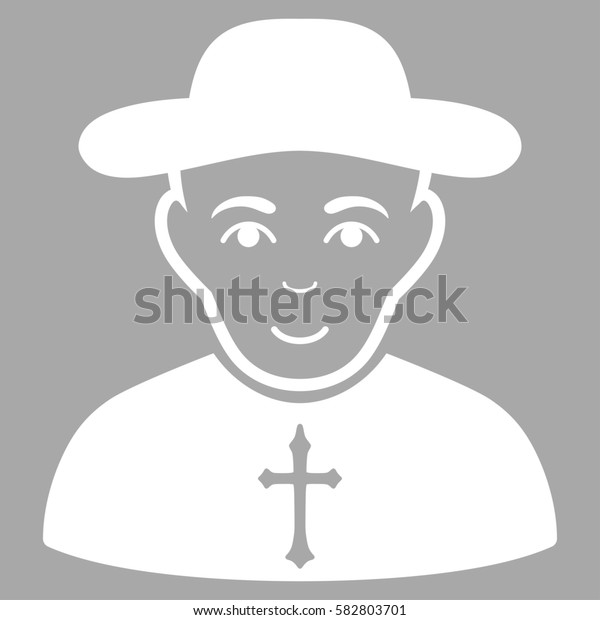Christian Priest glyph icon. Flat white symbol. Pictogram is isolated on a silver background. Designed for web and software interfaces.