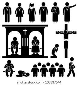 Christian Religion Culture Tradition Church Prayer Priest Pastor Nun Stick Figure Pictogram Icon