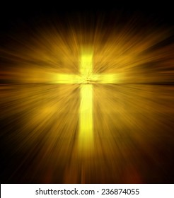 Christian religious cross with yellow light ray