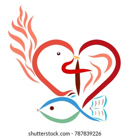 Christian symbolism, heart, cross, dove, fish, flame, Bible