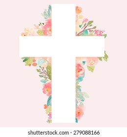 Christian Watercolor Flower Cross on Pink Background. Perfect for Baptism Invitations, First Communion, and Easter