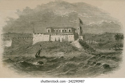Christianborg Castle, On the Gold Coast (now Ghana) in 1859. The first trading fort on this site was built by the Swedes, and subsequently passed through Portuguese, African, and Danish hands.