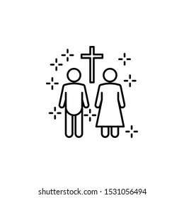 Christianity marriage cross family man woman icon. Element of christianity icon