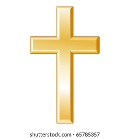 Christianity Symbol.  Golden cross, icon of the Christian faith isolated on a white background.