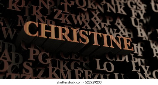 Christine - Wooden 3D rendered letters/message.  Can be used for an online banner ad or a print postcard.