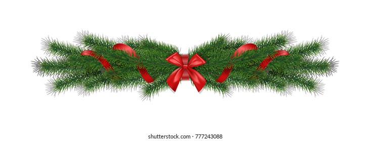 Christmas 3d realistic  pine branches with red ribbon bow.