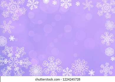 Christmas abstract blur winter falling snow purple lavender bokeh background with unique snowflakes. Blurred beautiful shiny lights. Christmas and New Year holidays background. Space for text.