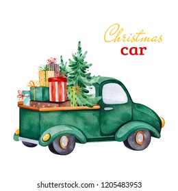 Christmas abstract retro car with Christmas tree,gifts and other decorations.Watercolor holiday illustration.Perfect for your Christmas and New Year project,invitations,greeting cards,wallpapers.