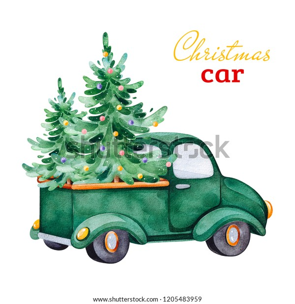 Christmas abstract retro car with Christmas trees and other decorations.Watercolor holiday illustration.Perfect for your Christmas and New Year project,invitations,greeting cards,wallpapers.