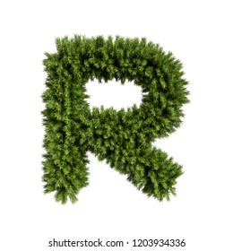 Christmas alphabet ABC character letter R font. Christmas tree branches capital letters decoration type. Highly realistic 3d rendering illustration. Text font isolated on white background