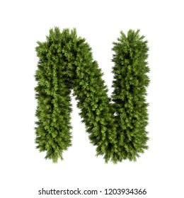 Christmas alphabet ABC character letter N font. Christmas tree branches capital letters decoration type. Highly realistic 3d rendering illustration. Text font isolated on white background