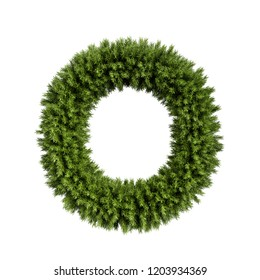 Christmas alphabet ABC character letter O font. Christmas tree branches capital letters decoration type. Highly realistic 3d rendering illustration. Text font isolated on white background