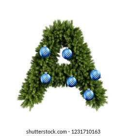 Christmas alphabet ABC character letter A font with Christmas ball. Christmas tree branches capital letters decoration type with Christmas sphere. 3d rendering illustration isolated