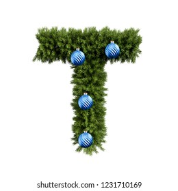 Christmas alphabet ABC character letter T font with Christmas ball. Christmas tree branches capital letters decoration type with Christmas sphere. 3d rendering illustration isolated