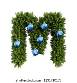 Christmas alphabet ABC character letter M font with Christmas ball. Christmas tree branches capital letters decoration type with Christmas sphere. 3d rendering illustration isolated