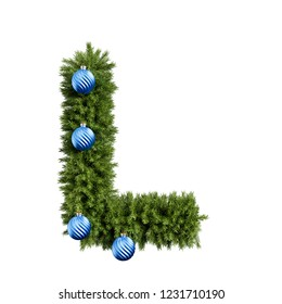 Christmas alphabet ABC character letter L font with Christmas ball. Christmas tree branches capital letters decoration type with Christmas sphere. 3d rendering illustration isolated