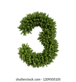 Christmas alphabet ABC digit number 3 three font. Christmas tree branches digits decoration type. Highly realistic 3d rendering illustration. Character isolated on white background