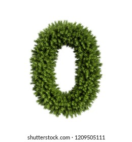 Christmas alphabet ABC digit number 0 zero null font. Christmas tree branches digits decoration type. Highly realistic 3d rendering illustration. Character isolated on white background