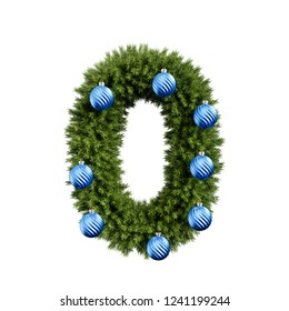 Christmas alphabet ABC digit number 0 zero null font with Christmas ball. Christmas tree branches digits decoration type with Christmas sphere. 3d rendering isolated on white background