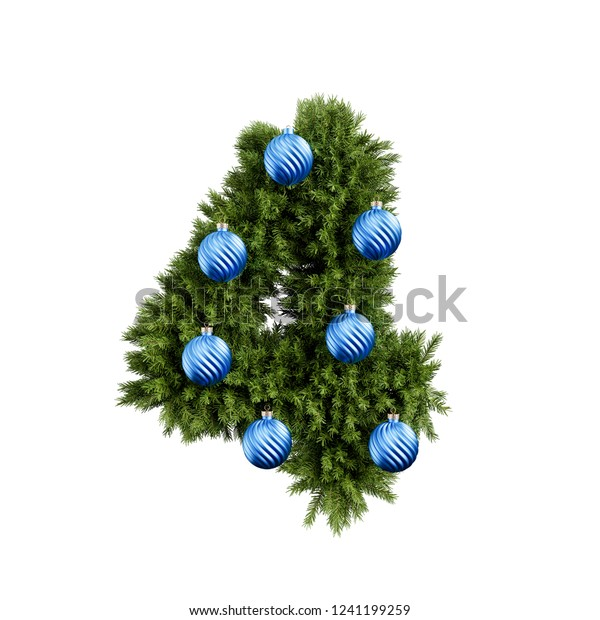 Christmas Alphabet Abc Digit Number 4 Stock Illustration