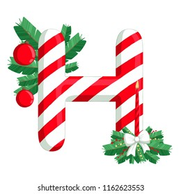 christmas alphabet illustration of letter h with tree candle and decorations use for - Christmas Letter Decorations