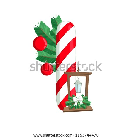 christmas alphabet illustration of letter i with tree and decorations use for postcards - Christmas Letter Decorations