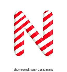 Christmas alphabet. Isolated illustration of letter N. use for postcards, wallpapers, textiles, scrapbooking, decoration, invitations, background, holiday.