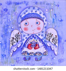 Christmas angel brings happiness. Silk illustration