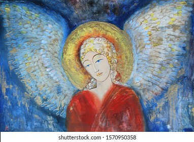 Christmas angel. drawn picture for a greeting card, image of a guardian angel, man with wings