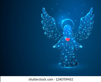 Christmas Angel with red heart holding stars. Polygonal space low poly with connecting dots and lines. Holiday wireframe concept. Connection structure. Raster image