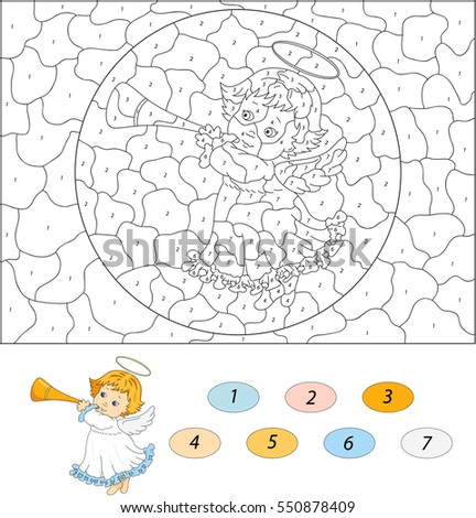 Christmas Angel Trumpet Color By Number Stock Illustration 550878409 ...