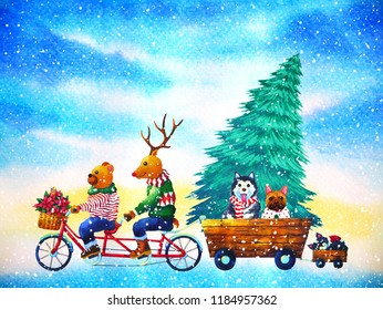 christmas animal happy new year watercolor painting illustration