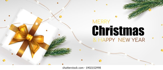 Christmas background for banner Merry Christmas and New Year. Xmas fir pine and real gift box. Horizontal Christmas poster, greeting cards