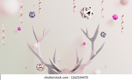 Christmas background in beige color with low poly deer, can be used for christmas wallpaper, greating card and header web site