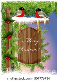 Christmas background with bullfinches