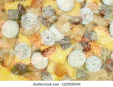 Christmas background from cookies and pine cones.illustration