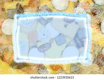 Christmas background from cookies and pine cones with copy space. illustration