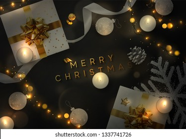Christmas  background. Creative design greeting card, banner, web poster. Top view of gift box, xmas decoration string lights garlands, balls and snowflakes.