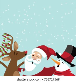 Christmas background with cute cartoon characters caroling. Santa Claus, reindeer and snowman in a snowy scene.