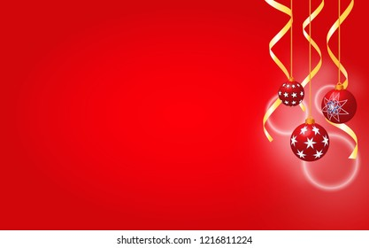 Christmas background decorated with baubles and Christmas ribbons