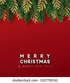 Christmas  background. Design christmas decorations green and golden pine branches