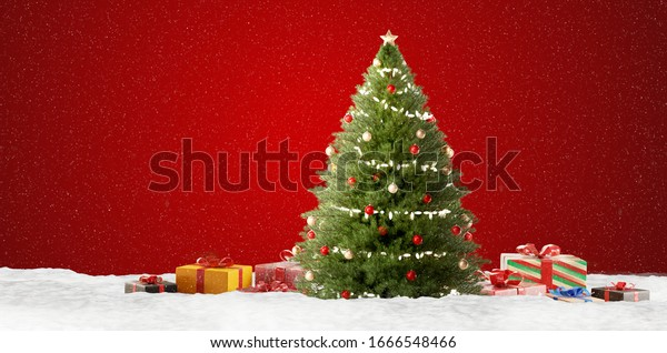 christmas background design with presents 3d-illustration