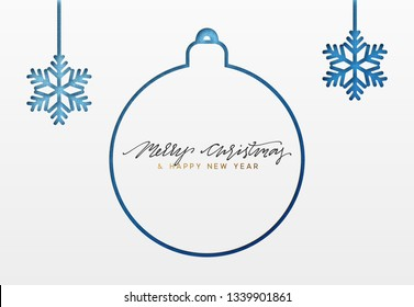Christmas background, design Xmas blue ball and snowflakes