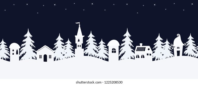 Christmas background. Fairy tale winter landscape. Seamless border. There are white fantastic lodges and fir trees on a starry sky background in the image. Raster copy