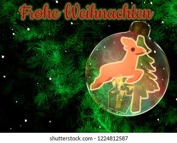 Christmas background with fir branches, christmas ball with christmas decoration and text.Illustration with text in german: Merry Christmas