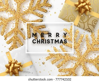 Christmas background with gifts box and shining golden snowflakes. Greeting card Merry Christmas.  Illustration.