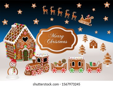 christmas background with gingerbread house, gingerbread train,  gingerbread sled and christmas candies