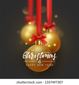 Christmas background with golden balls hanging on red ribbon with bows and bright sparkling bokeh lights.